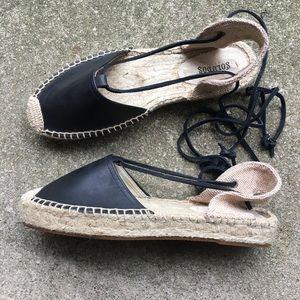 Soludos Black Lace Up Platform Sandal Espadrille 9